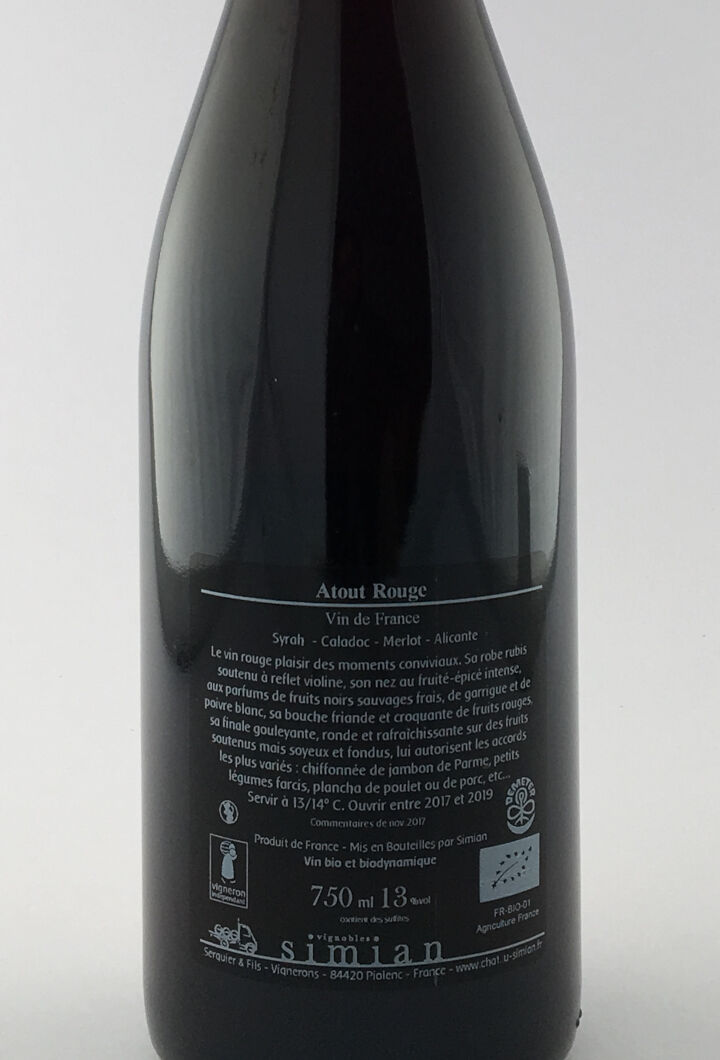 Vin de France Simian Créatives Atout 2017 75 cl Rouge